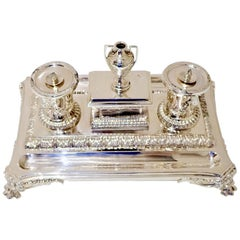 Antique Victorian Sterling Silver Inkstand Sheffield, 1863 Henry Wilkinson & Co