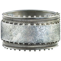 Antique Victorian Sterling Silver Ivy Cuff Bangle Dated 1883