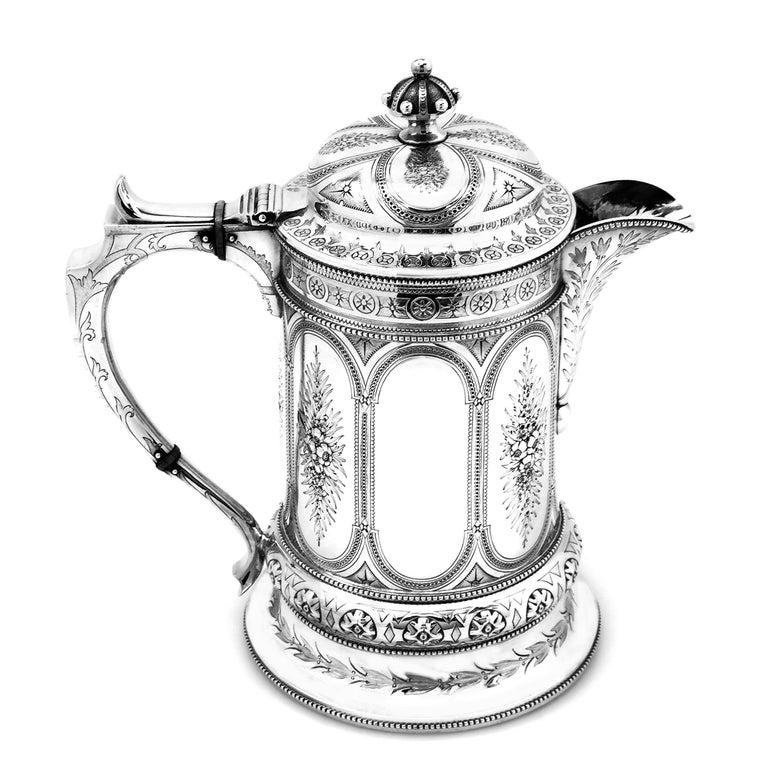 English Antique Victorian Sterling Silver Jug / Flagon / Ewer 1869
