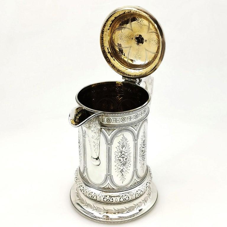 19th Century Antique Victorian Sterling Silver Jug / Flagon / Ewer 1869
