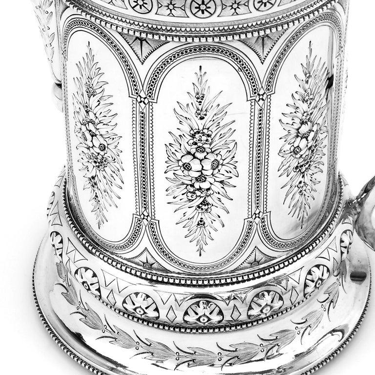 Antique Victorian Sterling Silver Jug / Flagon / Ewer 1869 1