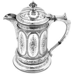 Antique Victorian Sterling Silver Jug / Flagon / Ewer 1869