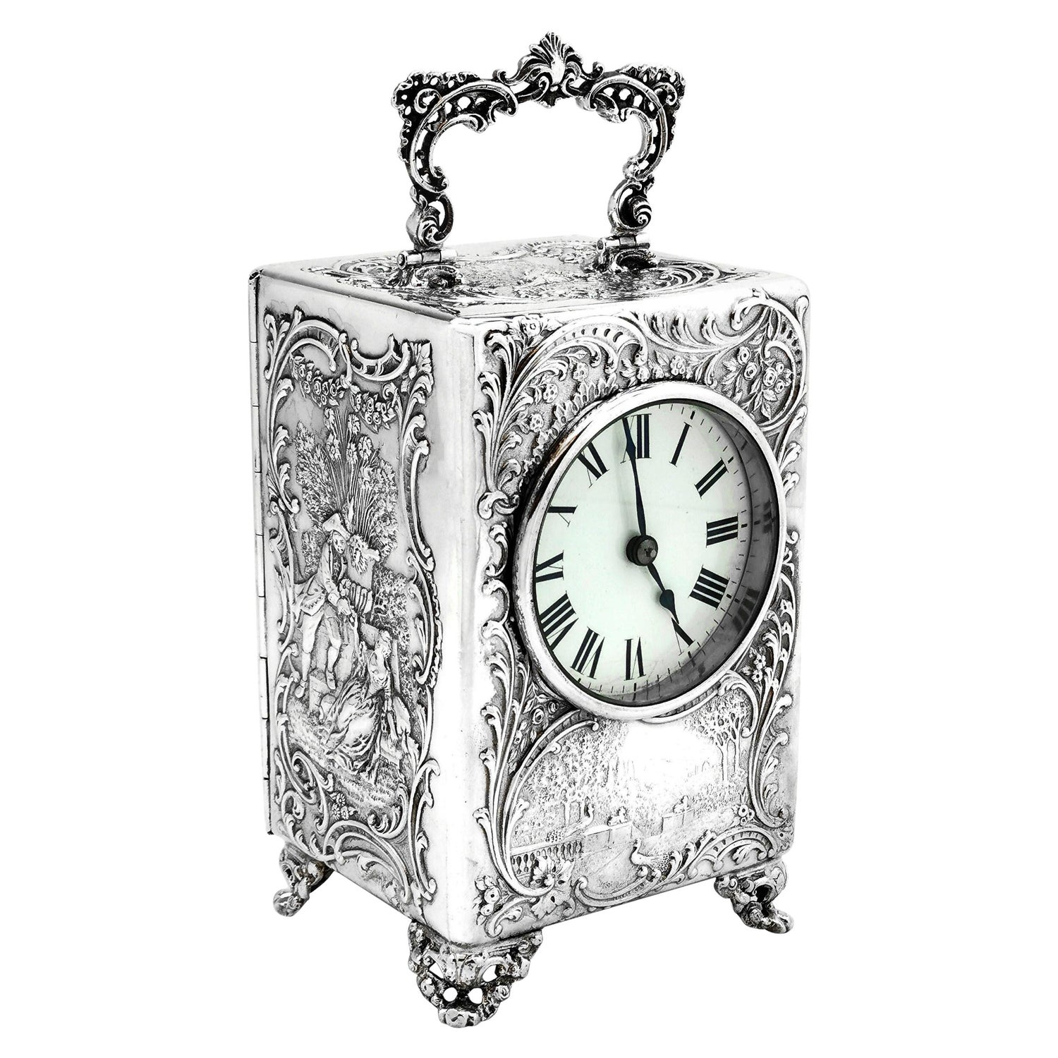 Antique Victorian Sterling Silver Mantle Carriage Clock, 1899