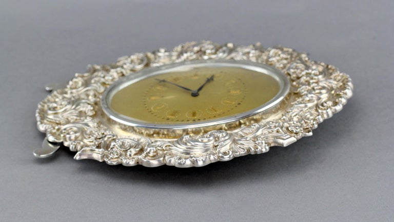 Antique Victorian Sterling Silver Manual Winding Clock, Louis Dee, London, 1880 For Sale 10