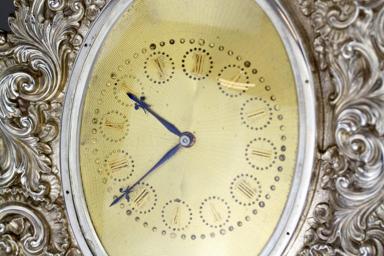 Antique Victorian Sterling Silver Manual Winding Clock, Louis Dee, London, 1880 For Sale 4