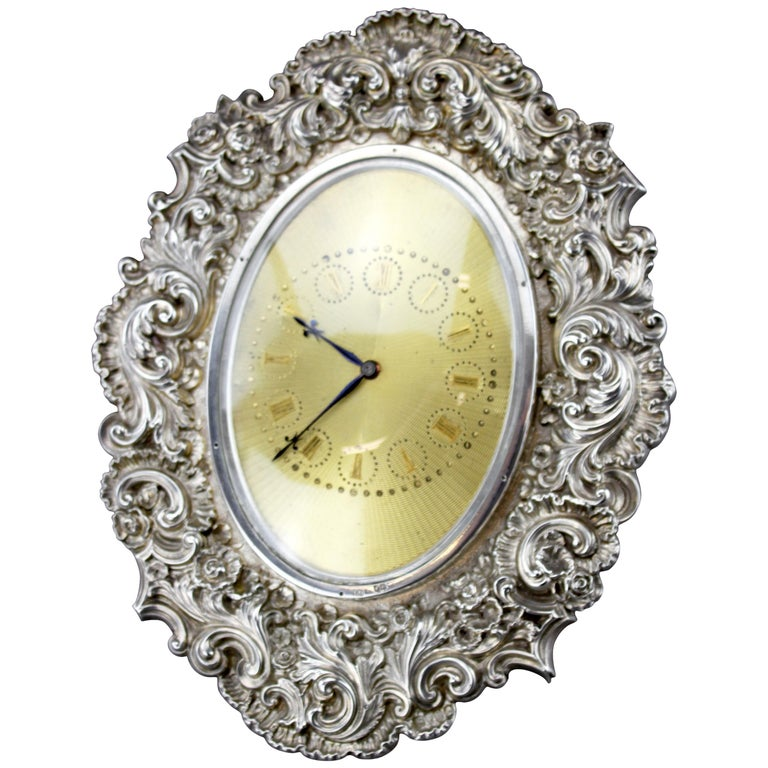 Antique Victorian Sterling Silver Manual Winding Clock, Louis Dee, London, 1880 For Sale