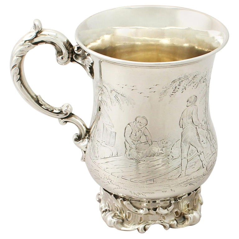 Antique Victorian Sterling Silver Mug by Edward John & William Barnard, 1848 For Sale