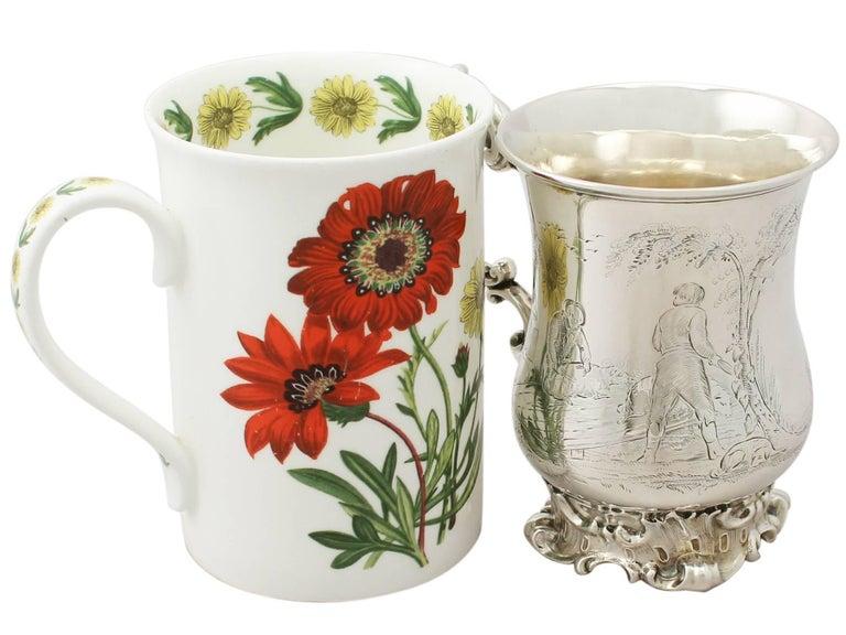 English Antique Victorian Sterling Silver Mug by Edward John & William Barnard, 1848 For Sale
