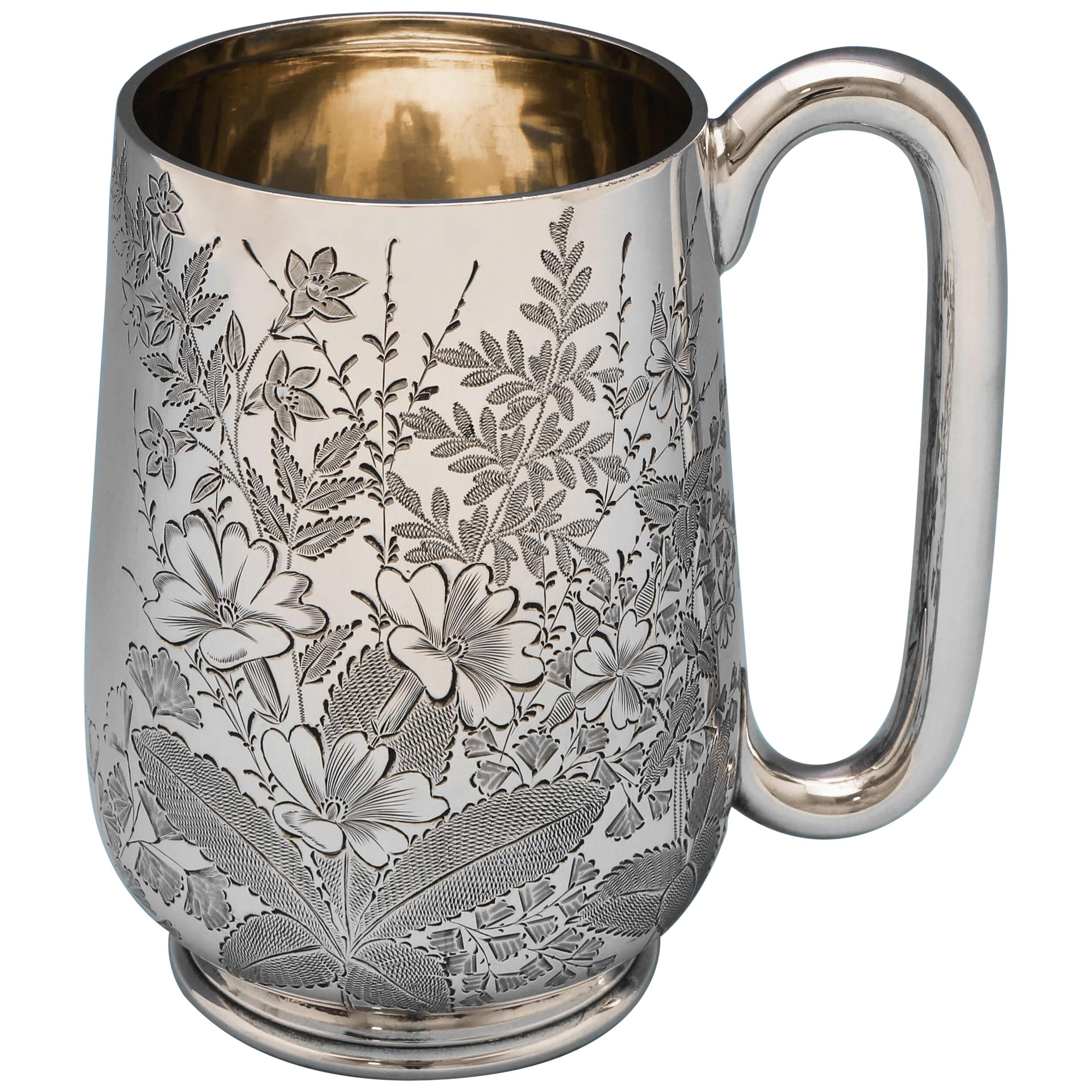 Antique Victorian Sterling Silver Mug with Floral Engraving, Hallmarked in 1885