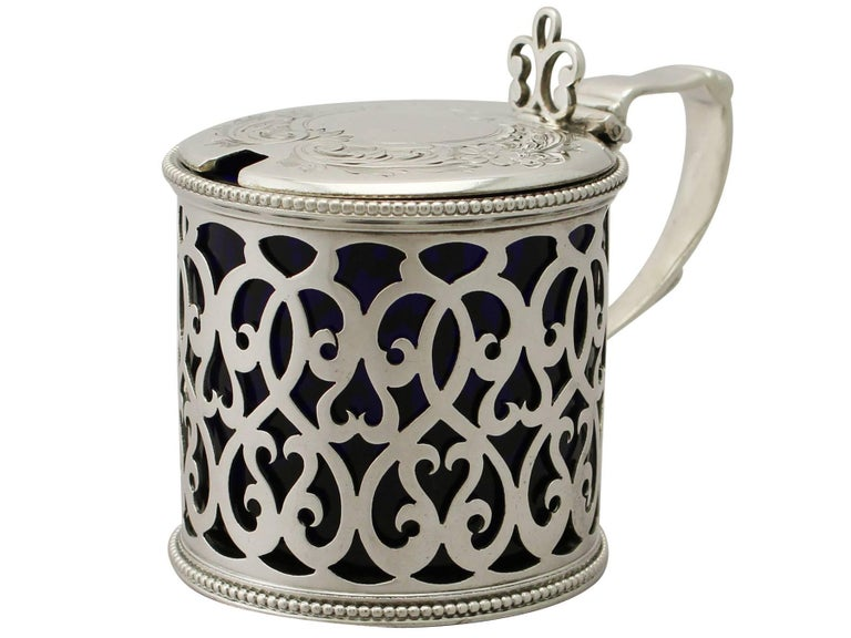 English Antique Victorian Sterling Silver Mustard Pot For Sale