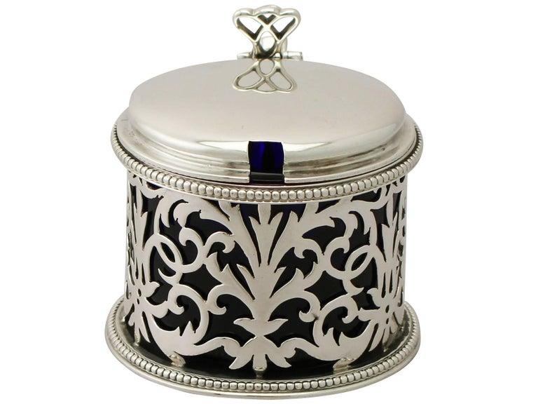 English Antique Victorian Sterling Silver Mustard Pot by Edward & John Barnard For Sale