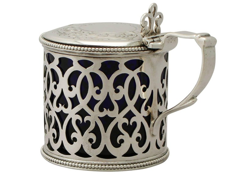 Antique Victorian Sterling Silver Mustard Pot In Excellent Condition For Sale In Jesmond, Newcastle Upon Tyne