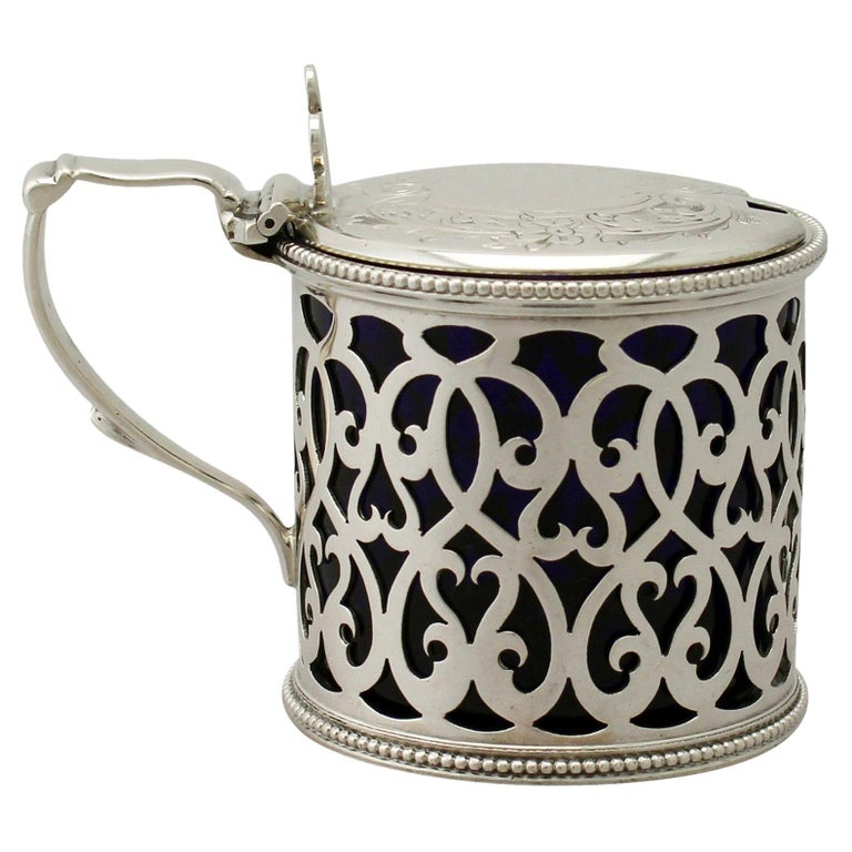 Antique Victorian Sterling Silver Mustard Pot For Sale