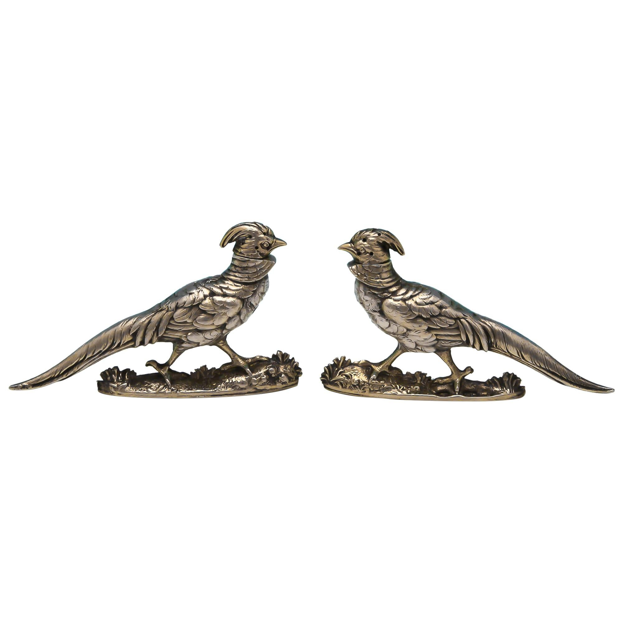 Antique Victorian Sterling Silver Novelty Pepper Pots in the Form of Pheasants
