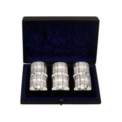 Antique Victorian Sterling Silver Numbered Napkin Rings Set of Six - 1897