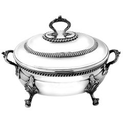 Antique Victorian Sterling Silver Oval Soup Tureen Lidded, 1891