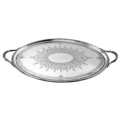 Antique Victorian Sterling Silver Oval Tray 1878 Tea Tray Serving Two Handled