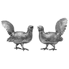 Antique Victorian Sterling Silver Pair Of Capercaillie Models Made in 1901