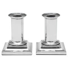 Antique Victorian Sterling Silver Pair of 'Piano' Candlesticks Hallmarked, 1873
