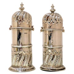Antique Victorian Sterling Silver Pair Sugar Casters London 1900-1901 George Fox