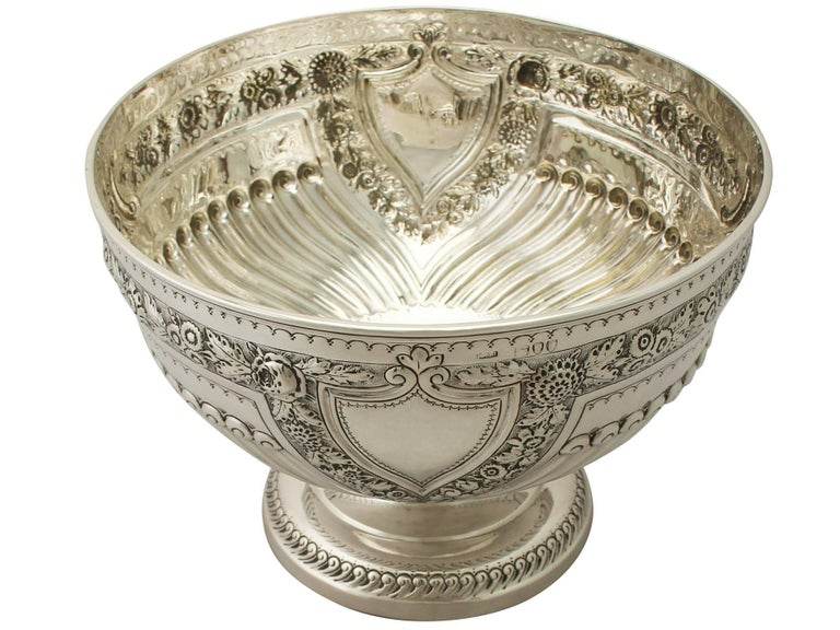 English Antique Victorian Sterling Silver Presentation Bowl For Sale