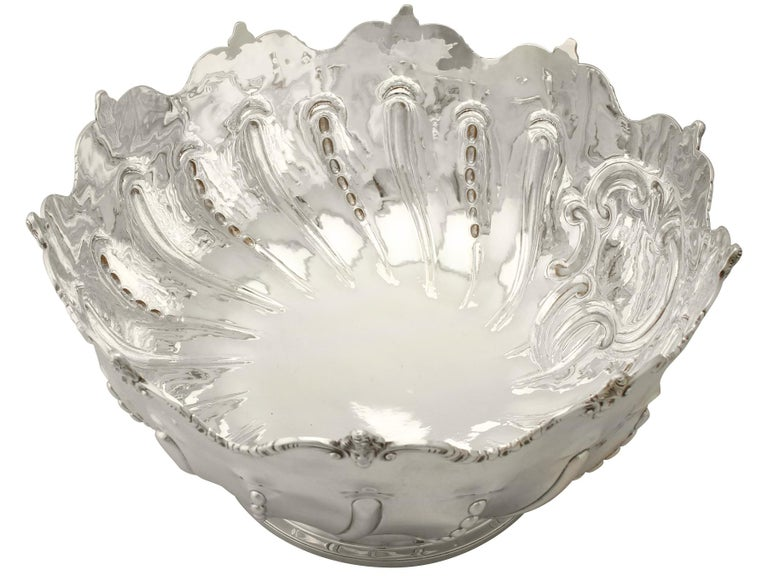 Late 19th Century Antique Victorian Sterling Silver Presentation Bowl, 1890 For Sale