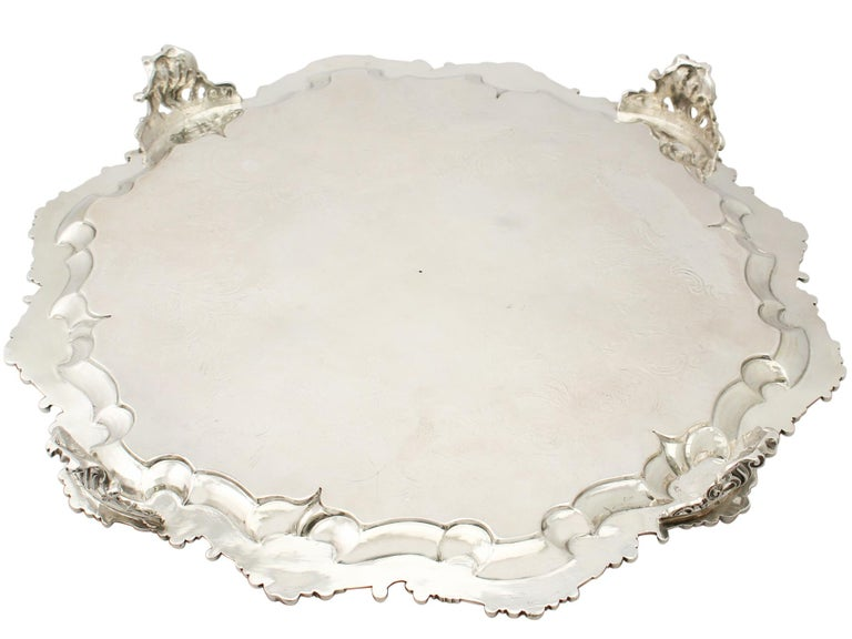 Antique Victorian Sterling Silver Salver For Sale 6