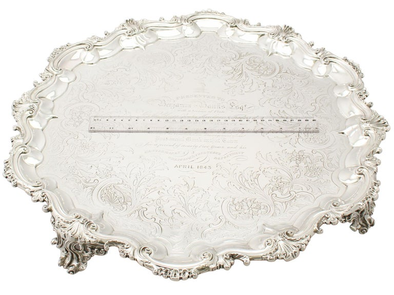 Antique Victorian Sterling Silver Salver For Sale 7
