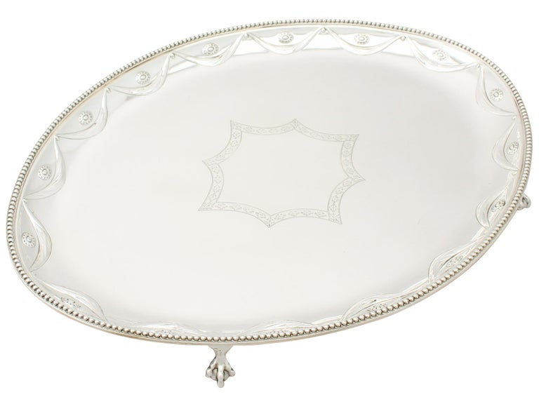 English Antique Victorian Sterling Silver Salver For Sale