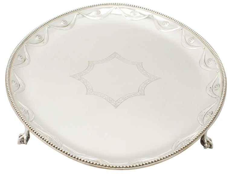 Antique Victorian Sterling Silver Salver In Excellent Condition For Sale In Jesmond, Newcastle Upon Tyne