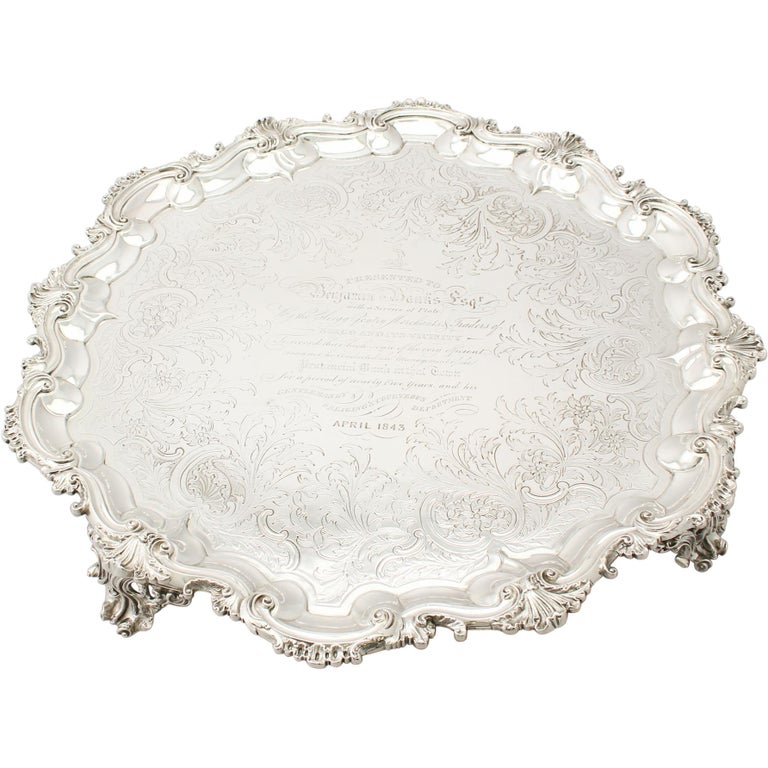 Antique Victorian Sterling Silver Salver For Sale