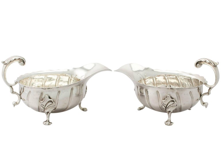 Antique Victorian Sterling Silver Sauceboats / Gravy Boats For Sale 5