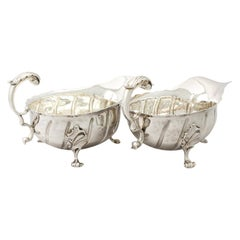 Antique Victorian Sterling Silver Sauceboats / Gravy Boats