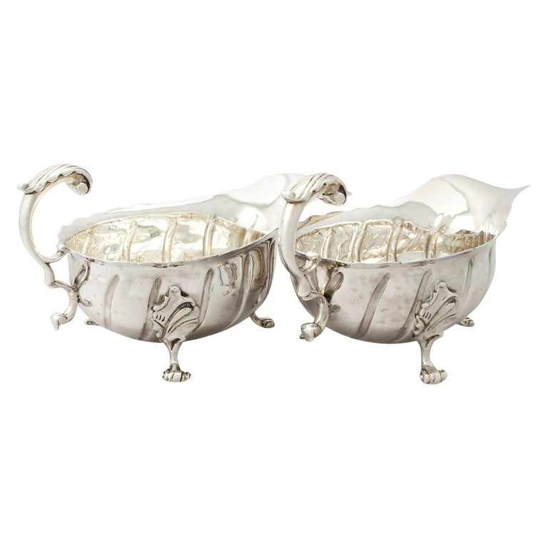Antique Victorian Sterling Silver Sauceboats / Gravy Boats For Sale
