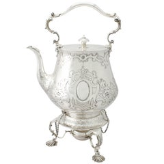 Antique Victorian Sterling Silver Spirit Kettle by John Samuel Hunt, 1850s