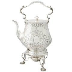 Antique Victorian Sterling Silver Spirit Kettle by John Samuel Hunt, 1852