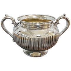 Antique Victorian Sterling Silver Sugar Bowl with Half Fluted Decorations