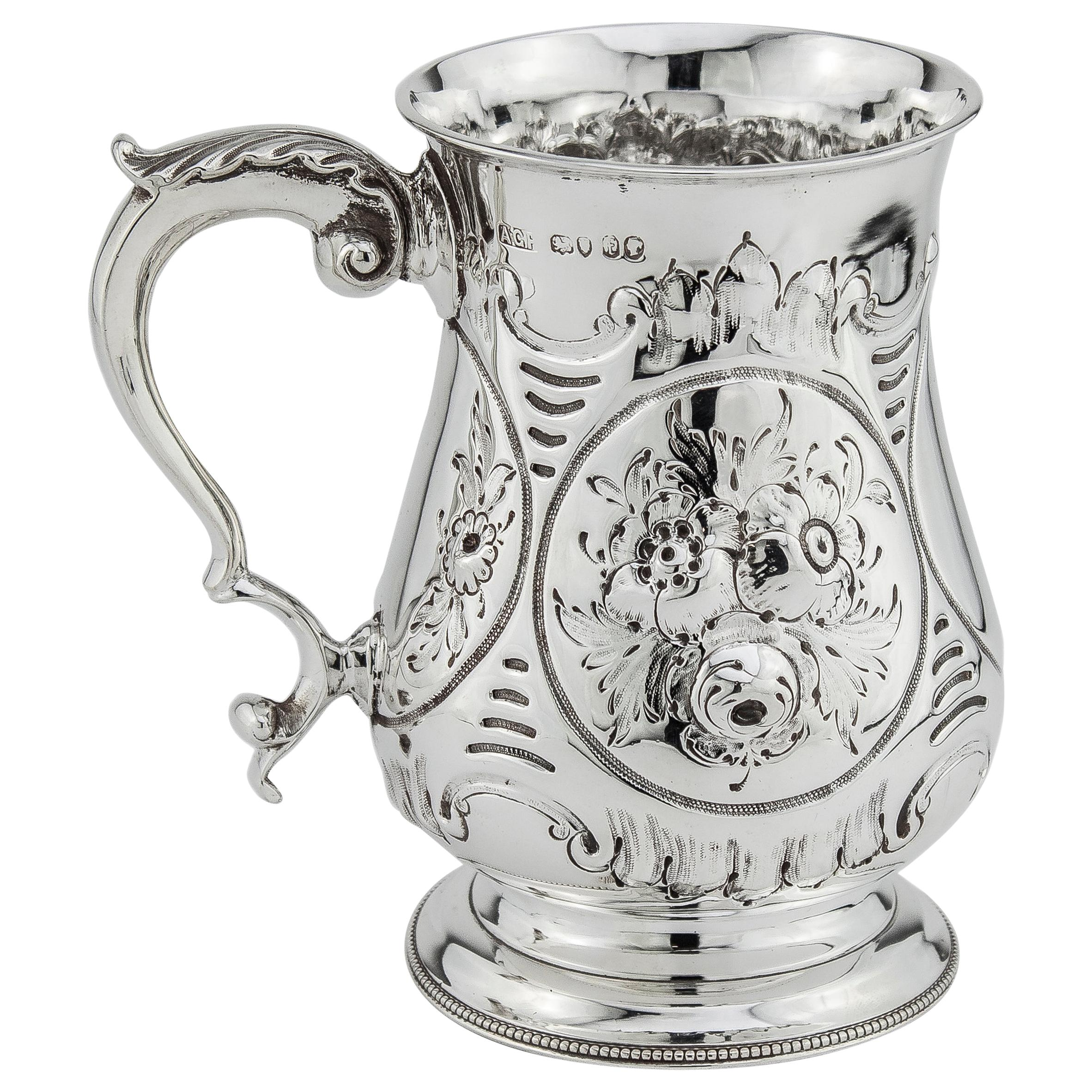 Antique Victorian Sterling Silver Tankard, London, 1861