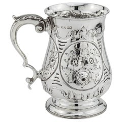 Antique Victorian Sterling Silver Tankard, London, 1861