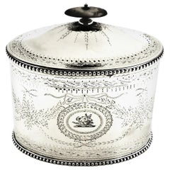 Antique Victorian Sterling Silver Tea Caddy Box, 1860