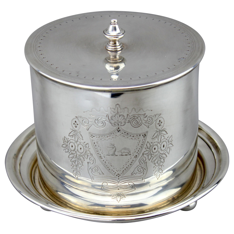 Antique Victorian Sterling Silver Tea Caddy or Biscuit Jar, Elkington & Co.