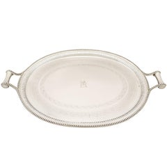 Antique Victorian Sterling Silver Tea Tray, 1850