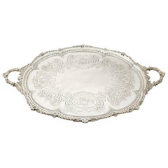 Antique Victorian Sterling Silver Tea Tray