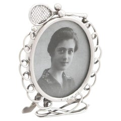 Antique Victorian Sterling Silver Tennis Photograph Frame 1895
