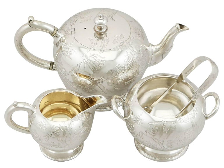 An exceptional, fine and impressive antique Victorian English sterling silver three-piece bachelor tea set or service, boxed, an addition to our diverse silver tea ware collection.  This exceptional antique Victorian sterling silver three-piece