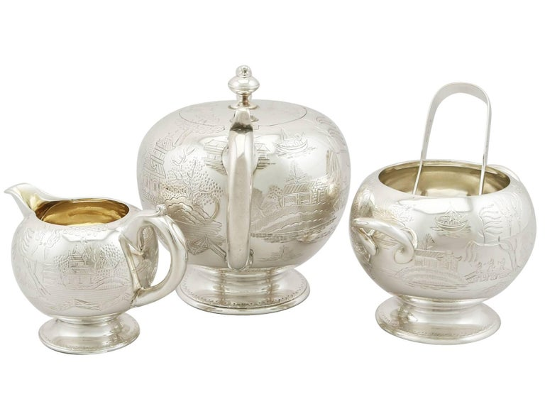 Great Britain (UK) Antique Victorian Sterling Silver Three-Piece Bachelor Tea Service For Sale