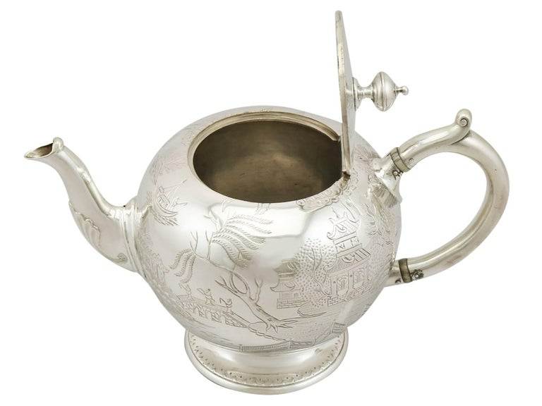 Mid-19th Century Antique Victorian Sterling Silver Three-Piece Bachelor Tea Service For Sale