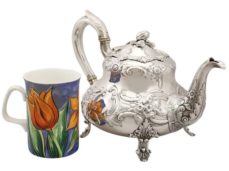 British Antique Victorian Sterling Silver Three-Piece Tea Service For Sale