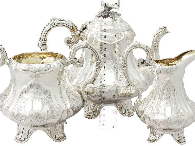 English Antique Victorian Sterling Silver Three-Piece Tea Service
