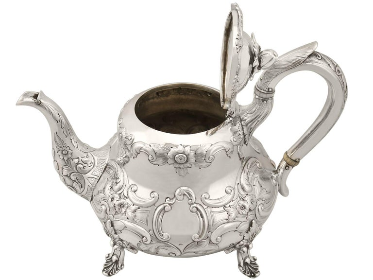 Mid-19th Century Antique Victorian Sterling Silver Three-Piece Tea Service For Sale